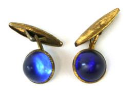 Vintage Cobalt Blue And Brass Cufflinks - $6.73