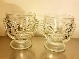 2 Vintage Glass Tiki Mugs clear hawaiian cup happy & sad  very nice - $16.82