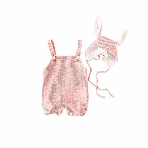 AIKSSOO 2PCs Baby Girls Boys Easter Outfit Set Straps Bib Romper+Bunny Ears Cap