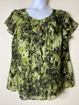 Apt. 9 Womens Plus Size 1X Green Ruffle Neck Blouse Flutter Sleeve - $13.53