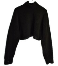 Missguided Black Fuzzy Cozy Fleece Long Sleeve Cropped Pullover Sweatshirt US 2