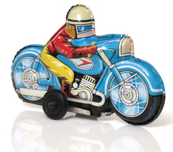 Vintage Antique Race Motorcycle Bike Tinplate Litho Toy Japan 1960's  - $16.53