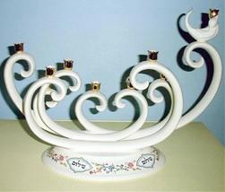 Lenox L'Chaim Menorah Swirled Candle Holder Judaic Blessings Floral Base... - $995.00