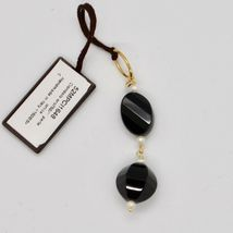Pendant in Yellow 18k 750 Onyx Black and mini pearls freshwater image 3