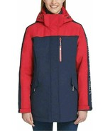TOMMY HILFIGER 3-in-1 All Weather Systems Hooded Jacket, NAVY/ RED, LARGE - $48.44