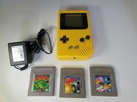 ORIGINAL YELLOW NINTENDO GAME BOY GAMEBOY SYSTEM GLASS SCREEN  3 GAMES A... - $89.95