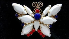 Vintage Juliana DELIZZA & ELSTER Red White Blue Rhinestone BUTTERFLY BROOCH - $85.00
