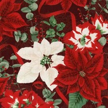 Clearance Sale~Let it Sparkle~Poinsettias Cotton Fabric by RJR Fabrics - $11.35