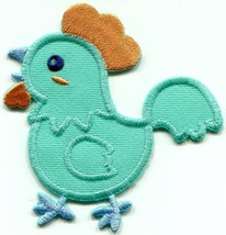Baby chicken chick teal blue embroidered applique iron-on patch S-1525 - $2.95