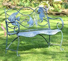 Coastal Blue Metal Furniture Collection Bench/Arm Chair (Fish & Seahorse... - $229.95