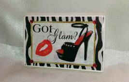 "Bling ""GOT GLAM?"" Black High Heel Shoe Rhinestone & Red Lips Magnet - $4.95"