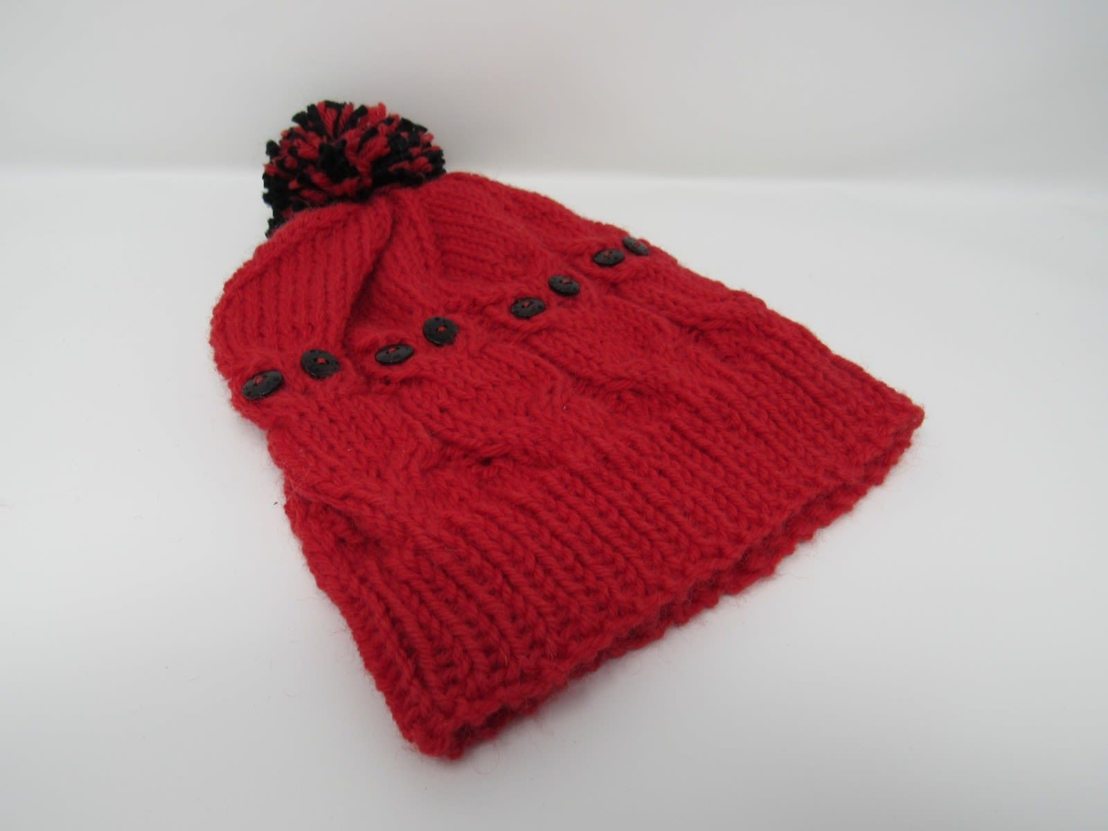 Handcrafted Knitted Hat Red/Black Owl Pom Pom 100% Wool Unisex Kids 4-6