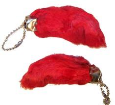 12 RED COLORED RABBIT FOOT KEY CHIANS novelty bunny fur hair feet ball c... - £8.84 GBP