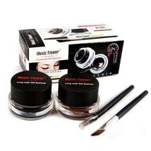 2 PCS Black Brown Cosmetic + Brush Waterproof Eye Liner Gel Eyeliner - $6.95