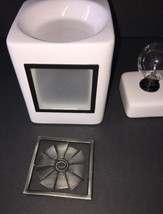 Scentsy White Custom Cube Wax Melt Warmer with Pinwheel Design EUC - $49.99