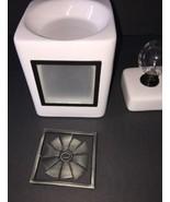 Scentsy White Custom Cube Wax Melt Warmer with Pinwheel Design EUC - $49.99
