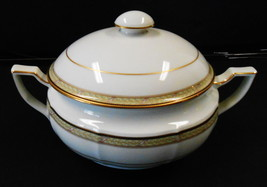 VINTAGE OVAL CASSEROLE SOUP BOWL WITH LID NORITAKE RIBBON AND GOLD  - $71.28