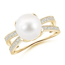 Freshwater Cultured Pearl Solitaire Split Shank Ring Silver/ 14K Gold Si... - $432.85+