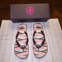 NIB Tory Burch Thandie Wedge Flip-flops Clay Pink/Fumo/Port Combo Size 9 - $58.55