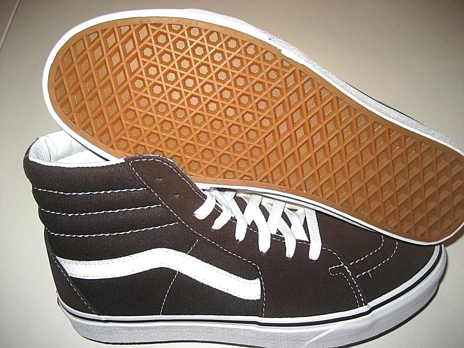Vans Mens Sk8-Hi Chocolate Torte True White Canvas Suede Skate shoes Size 9 NWT