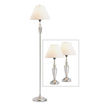 Lamp Set, Silver Table Lamps For Living Room Set Of Three - Metal - $121.35