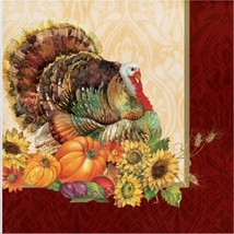 Regal Turkey 16 Luncheon Napkins Thanksgiving Fall Flowers Pumpkins - $5.39