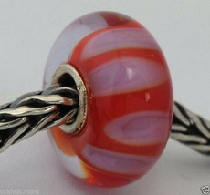 Authentic Trollbeads Murano Glass Retired Lilac Shadow (B) Bead Charm, 6... - $27.54