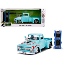 1956 Ford F-100 Pickup Truck Turquoise with Red Flames with Extra Wheels... - $44.11