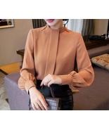 New camel long button sleeve women chiffon blouse top spring summer offi... - $28.00