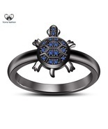 Blue Sapphire 18k Black Gold Plated 925 Silver Turtle New *Tortoise* Bea... - €70,35 EUR