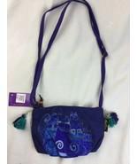 Laurel Burch Indigo Cats Blue Small CrossBody Tote Bag New - $18.69