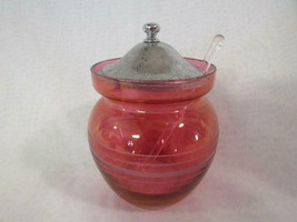 Vintage Cranberry Glass Sugar Jelly Condiment Jar with Lid & Spoon, Etch... - $20.89