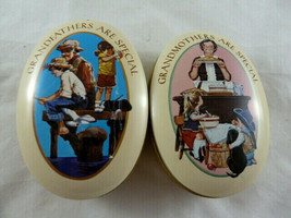 Grandmothers & Grandfathers are special Set of 2 Oval Shaped Tins 1983 Avon gift - $7.90