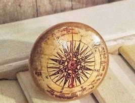 "Handmade Distressed Compass Birch Wood Knob Drawer Pull, 1.25"" - $4.95"