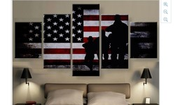 Large Framed American soldiers American Flag wall art canvas Print Home ... - $129.98