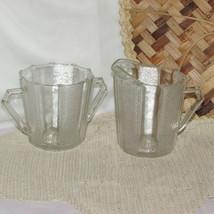 JEANNETTE DEWDROP CREAM & SUGAR DEPRESSION GLASS STIPPLED PANEL PITCHER ... - $18.76