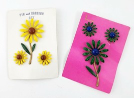 Vintage Enamel Clip On Earring and Brooch Set - Yellow or Green Daisies ... - $26.55
