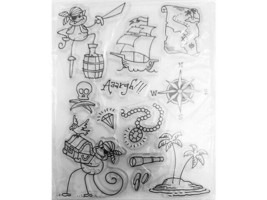 Pirate Monkeys Clear Stamp Set, Includes Monkey Pirates, Ship, Treasure & More