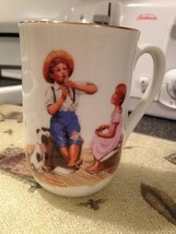 Vintage 1982 Norman Rockwell Museum Music Master Mug Cup w Gold Trim Bra... - $12.99