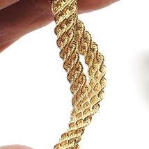 18K YELLOW GOLD BRACELET DOUBLE FLAT BRAID ROPE LINK, 7.50 INCHES, MADE IN ITALY image 3