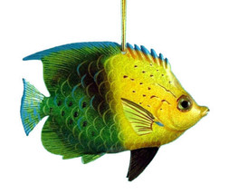 Tropical Fish Sea Life Christmas Ornament 4 Inches Green and Yellow Doub... - $15.76