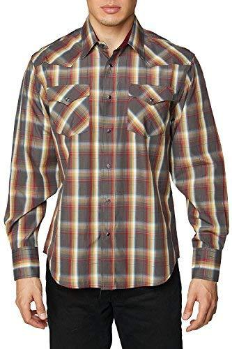 Rodeo Clothing Co. Men's Western Cowboy Pearl Snap Long Sleeve Plaid Shirt (Medi