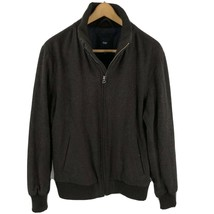 Gap Mens Jacket Size Large Brown Wool Blend Zip Up Basic Fall Bomber - $34.65