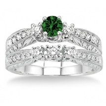 1.5 Carat Emerald & Sim Diamond Antique Bridal set on 14k White Gold Finsih - $99.99