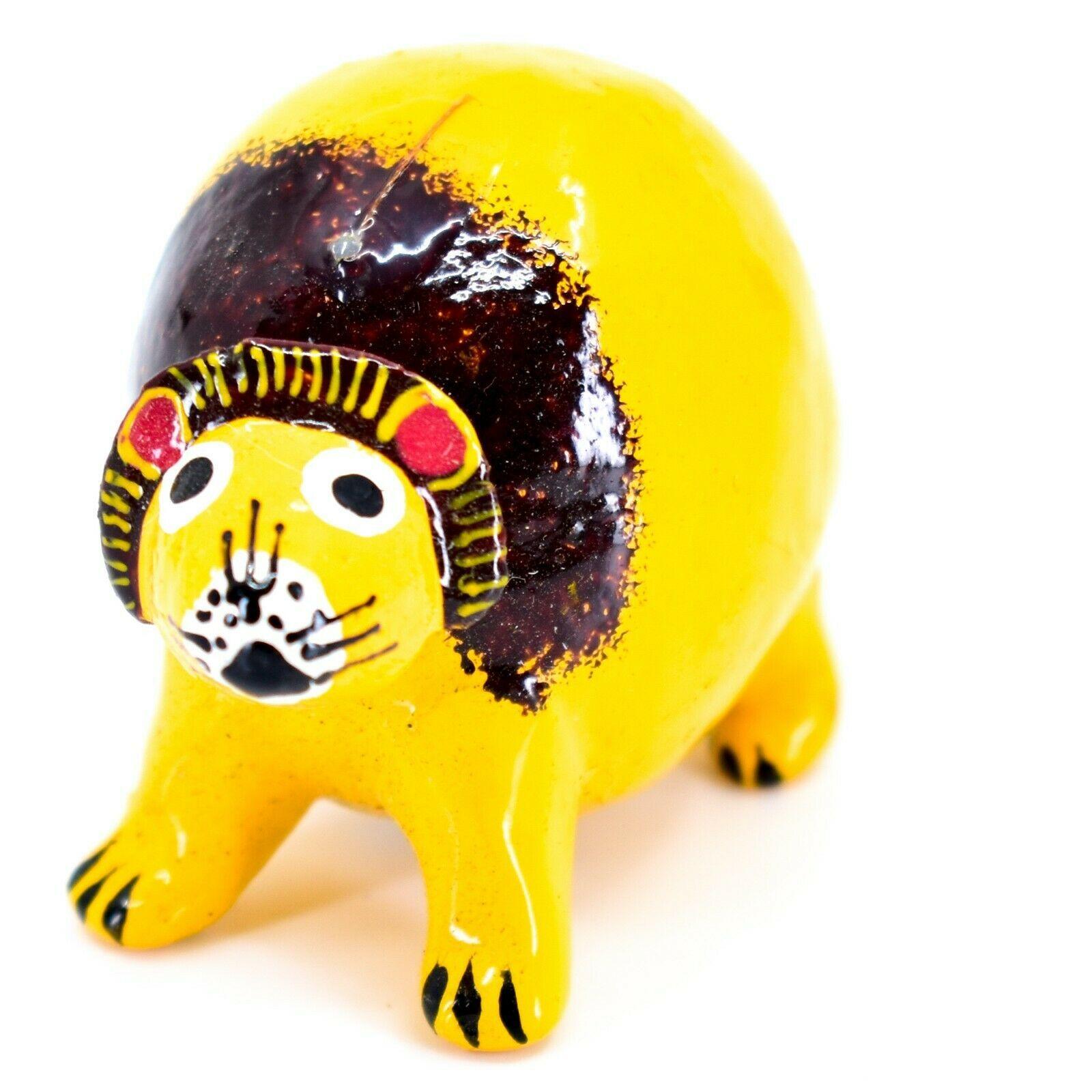 Handmade Alebrijes Oaxacan Wood Carved Folk Art Mini Lion Bobble Head Figurine