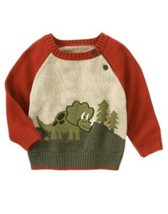 NWT Gymboree Baby Boys Pullover Sweater Rust/OLIVE Dinosaur SIZE: 3-6M - $12.19