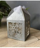 100pcs Glitter Silver Snowflake laser cut candy boxes,small gift packagi... - $48.00