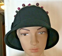 GladHatter Women's Wool Cloche Hat 5th in Series Upcycled Repurposed Hat - $27.21