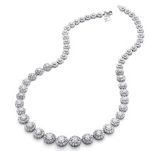 15.63 TCW CZ Halo Necklace Platinum over .925 Sterling Silver - $84.49