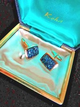 Vintage KOHA Gold tone NZ Puca Shell Inlay Stones Cuff Links w Box VGC U... - $23.20